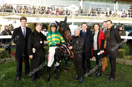 Stock Photo of HELL'S KITCHEN (Barry Geraghty) wtih Harry Fry, J P McManus and AP McCoy after The My Pension Expert Handicap Chase Ascot