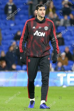 Manchester United Midfielder Marouane Fellaini in warm up during the Premier League match between Cardiff City and Manchester United at the Cardiff City Stadium, Cardiff