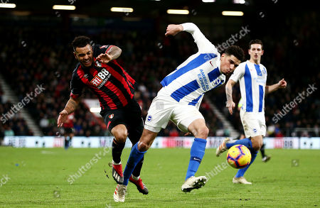 Joshua King of Bournemouth and Leon Balogun of Brighton & Hove Albion.