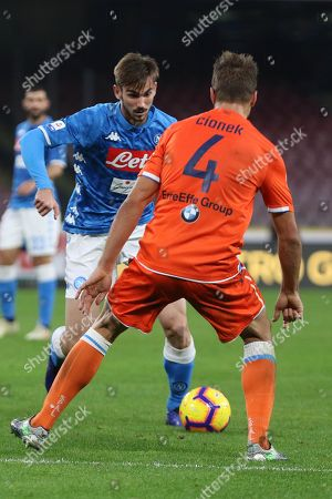 Napoli's Fabian Ruiz (L) and Spal's Thiago Cionek in action during Italian Serie A soccer match SSC Napoli vs S.P.A.L. at the San Paolo stadium in Naples, Italy, 22 December 2018.