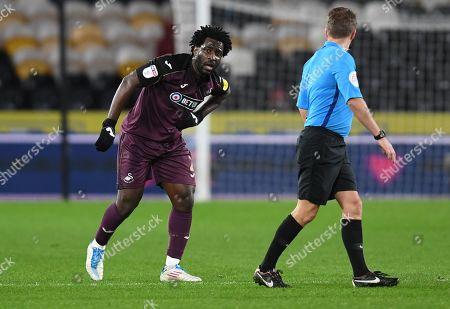 Wilfried Bony of Swansea City appears injured