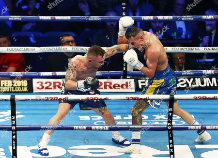 Stock Photo of Josh Warrington and Carl Frampton during the IBF World Featherweight title fight