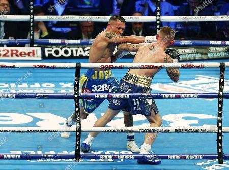 Josh Warrington and Carl Frampton during the IBF World Featherweight title fight