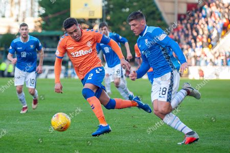 Ross Callaghan (#28) of St Johnstone FC runs past James Tavernier (#2) of Rangers FC during the Ladbrokes Scottish Premiership match between St Johnstone FC and Rangers FC at McDiarmid Park, Perth