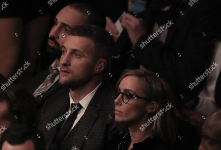 Former Boxing Champion Carl Froch watches from Ringside
