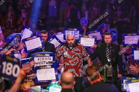 Kyle Anderson before his walk-on during the World Darts Championships 2018 at Alexandra Palace, London