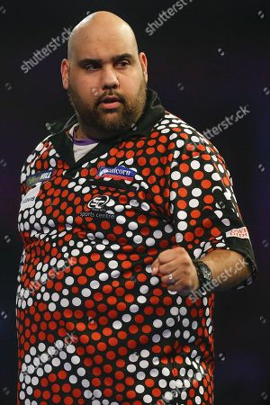 Kyle Anderson hits a double and celebrates winning a leg during the World Darts Championships 2018 at Alexandra Palace, London