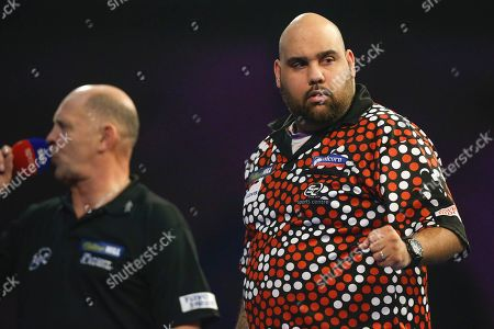 Kyle Anderson hits a double and celebrates winning a leg, Russ Bray calling, during the World Darts Championships 2018 at Alexandra Palace, London