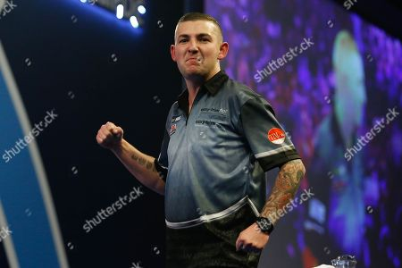 WINNER Nathan Aspinall wins his Third Round match against Kyle Anderson during the World Darts Championships 2018 at Alexandra Palace, London