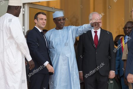 Chad President Idriss Deby and French President Emmanuel Macron during a press conference at the presidential Palace