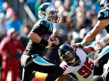 8e886a2f1 Carolina Panthers  Taylor Heinicke (6) runs past Atlanta Falcons  Jack  Crawford ...