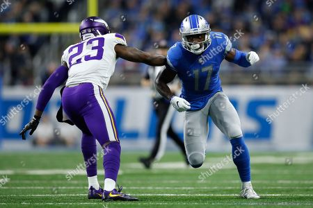 Andy Jones, George Iloka. Detroit Lions wide receiver Andy Jones (17) runs down the field on kickoff coverage against Minnesota Vikings strong safety George Iloka (23) during an NFL football game, in Detroit. The Vikings won the game 27-9
