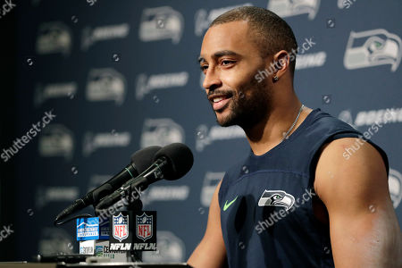 Seattle Seahawks wide receiver Doug Baldwin talks to reporters following an NFL football game against the Kansas City Chiefs, in Seattle. The Seahawks won 38-31
