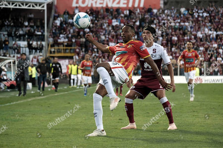 Junior Diaz (L) of Herediano vies for the ball with Christian Bolanos (R) of Saprissa during the final match of the Costa Rican national soccer championship in San Jose, Costa Rica, 23 December 2018. Herediano against Saprissa to claim the 27th championship title of the Costa Rican soccer tournament.