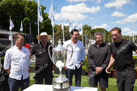 Mark Bradford (L) of Black Jack, David Witt (2-L) of Sun Hung Kai/Scallywag, Mark Richards (C) of Wild Oats XI, Jim Cooney (2-R) of Comanche and Christian Beck (R) of Infotrack speak during a Sydney to Hobart Yacht Race 2018 briefing in Sydney, Australia, 24 December 2018. The Sydney to Hobart Yacht Race 2018 will start on 26 December.