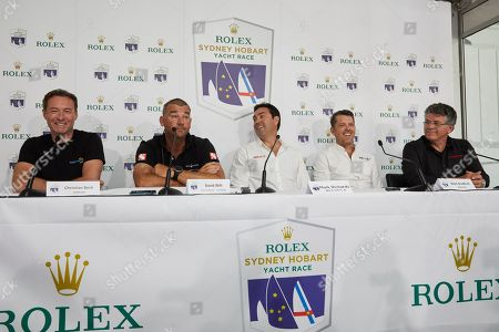 Christian Beck (L) of Infotrack, David Witt (2-R) of Sun Hung Kai/Scallywag, Mark Richards (C) of Wild Oats XI, Mark Bradford (2-R) of Black Jack and Jim Cooney (R) of Comanche speak to the media during a Sydney to Hobart Yacht Race 2018 briefing in Sydney, Australia, 24 December 2018. The Sydney to Hobart Yacht Race 2018 will start on 26 December.