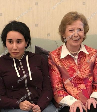 Latifa bint Mohammed Al Maktoum, Mary Robinson. Released on Monday, Dec. 24, 2018, by the United Arab Emirates' Ministry of Foreign Affairs and International Cooperation, Sheikha Latifa bint Mohammed Al Maktoum, a daughter of Dubai's ruler Sheikh Mohammed bin Rashid Al Maktoum, left, meets Mary Robinson, a former United Nations High Commissioner for Human Rights and former president of Ireland, in Dubai, United Arab Emirates. The UAE released the first images of Sheikha Latifa on Monday, months after friends and supporters say she disappeared following commandos storming a boat carrying her off the coast of India after she fled the Emirates