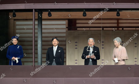 Japanese Emperor Akihito (2nd R), accompanied by Empress Michiko (R), Crown Prince Naruhito (2nd L) and Crown Princess Masako (L) deliveres a speech at the balcony of the Imperial Palace in Tokyo on Sunday, December 23, 2018. Emperor Akihito celebrated his 85th birthday and he has plan to adbicate on April 30 next year.
