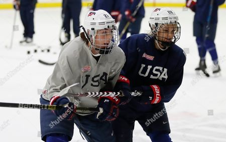 Amanda Kessel, Hilary Knight. In a photo from, in Plymouth, Mich., USA Hockey forwards Hilary Knight, left, and Amanda Kessel skate during practice. After threatening not to show up at the 2017 world championship at USA Hockey Arena, the top American female players in the sport agreed to a package of improvements, including one that helped their bottom line. Post-graduate hockey players can make about $70,000 a year and about $130,000 annually in Olympic years