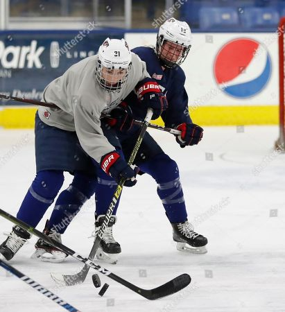 Hilary Knight, Kelly Panneck. In a photo from, in Plymouth, Mich., USA Hockey forwards Hilary Knight, left, and Kelly Panneck chase the pucks during practice. After threatening not to show up at the 2017 world championship at USA Hockey Arena, the top American female players in the sport agreed to a package of improvements, including one that helped their bottom line. Post-graduate hockey players can make about $70,000 a year and about $130,000 annually in Olympic years