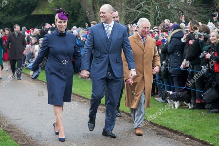 Zara Tindall, Mike Tindall and Prince Charles after the Christmas Day morning church service at St Mary Magdalene Church in Sandringham, Norfolk..