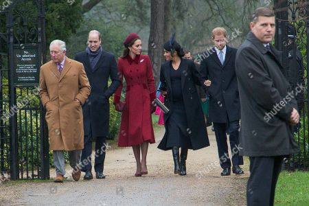 Prince Charles, Prince William, Catherine Duchess of Cambridge, Meghan Duchess of Sussex and Prince Harry arriving to attend the Christmas Day morning church service at St Mary Magdalene Church in Sandringham