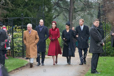Prince Charles, Prince William, Catherine Duchess of Cambridge, Meghan Duchess of Sussex and Prince Harry arriving to attend the Christmas Day morning church service at St Mary Magdalene Church in Sandringham, Norfolk.