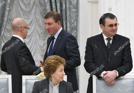 First Deputy Head of the Presidential Administration of Russia Sergei Kiriyenko, Deputy Chairmen of the Federation Council Galina Karelova, Andrey Turchak and First Deputy Chairman of the Federation Council Nikolay Fedorov before the meeting