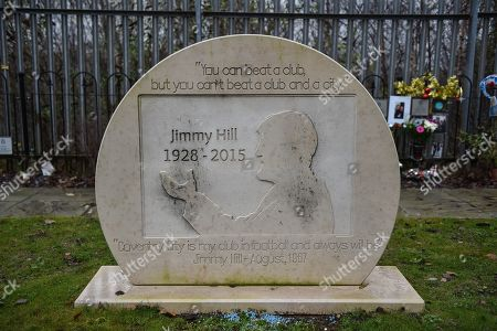 """Stock Photo of Plaque showing Jimmy Hill OBE with the legend """"you can beat a club, but you can't beat a club and a city"""" during the EFL Sky Bet League 1 match between Coventry City and Charlton Athletic at the Ricoh Arena, Coventry"""