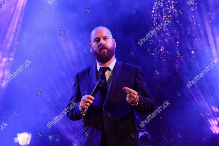 Alexandros Affolter seen performing at the Christmas concert tribute to Frank Sinatra on Syntagma Square in Athens.