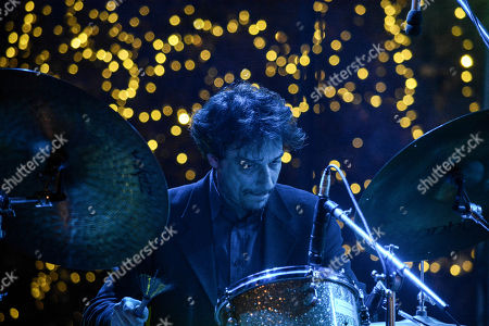 Serafim Bellos, the drummer of the band seen performing at the Christmas concert tribute to Frank Sinatra on Syntagma Square in Athens.