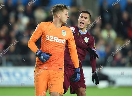 Orjan Nyland and Anwar El Ghazi of Aston Villa celebrate saving Wilfried Bony of Swansea City shot.