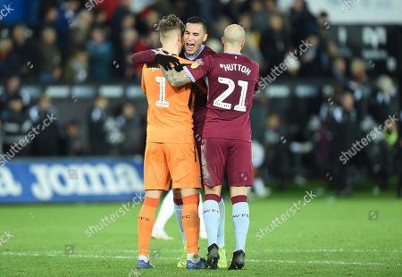 Orjan Nyland, Anwar El Ghazi and Alan Hutton of Aston Villa celebrate saving Wilfried Bony of Swansea City shot.