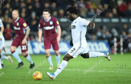 Wilfried Bony of Swansea City shot from the penalty spot is saved.