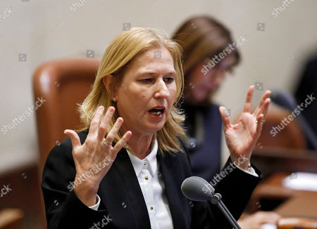 Israeli Opposition leader Tzipi Livni speaks during a discussion to vote on the dissolution of the Israeli Parliament in the Knesset, in Jerusalem, Israel, 26 December 2018. According to reports, the heads of the coalitions at the Israeli parliament agreed on 24 December to dissolve the Israeli parliament and go to early elections on 09 April 2019.