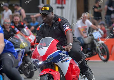 Stock Photo of Carl Cox. The 2018 Suzuki series Cemetery Circuit motorcycle racing at Cooks Gardens in Wanganui, New Zealand on Wednesday, 28 December 2018.