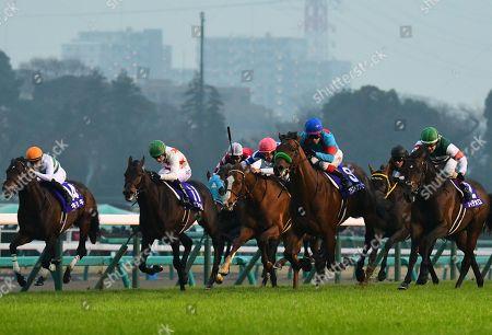 (L-R) Kiseki (Yuga Kawada), Mikki Rocket ( Oisin Murphy), Oju Chosan (Yutaka Take), Cheval Grand ( Hugh Bowman), Blast Onepiece (Kenichi Ikezoe), Mozu Katchan ( Mirco Demuro), Rey de Oro ( Christophe Lemaire) - Horse Racing : Blast Onepiece ridden by Kenichi Ikezoe wins the 63rd Arima Kinen (The Grand Prix) at Nakayama Racecourse in Funabashi, Chiba, Japan.