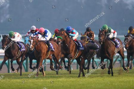 (L-R) Mikki Rocket ( Oisin Murphy), Oju Chosan (Yutaka Take), Cheval Grand ( Hugh Bowman), Blast Onepiece (Kenichi Ikezoe), Mozu Katchan ( Mirco Demuro), Rey de Oro ( Christophe Lemaire), Makahiki (Yasunari Iwata) - Horse Racing : Blast Onepiece ridden by Kenichi Ikezoe wins the 63rd Arima Kinen (The Grand Prix) at Nakayama Racecourse in Funabashi, Chiba, Japan.