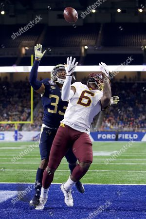 Minnesota Golden Gophers wide receiver Tyler Johnson (6) touchdown reception during the first half at the NCAA Quick Lane Bowl game between the Minnesota Gophers and the Georgia Tech Yellow Jackets at Ford Field in Detroit, Michigan