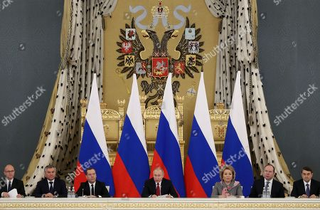 (L-R) First Deputy Chief of Staff of the Russian Presidential Executive Office Sergei Kiriyenko, Russian State Duma Chairman Vyacheslav Volodin, Russian Prime Minister Dmitry Medvedev, Russian President Vladimir Putin, Russian Federation Council Speaker Valentina Matviyenko, Chief of Staff of the Russian Presidential Executive Office Anton Vaino and Russian Presidential Aide Igor Levitin attend a State Council's meeting on the development of volunteering and socially oriented non-governmental organizations in the Kremlin in Moscow, Russia, 27 December 2018.