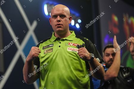 Michael van Gerwen wins his fourth round  match against Adrian Lewis and celebrates during the World Darts Championships 2018 at Alexandra Palace, London