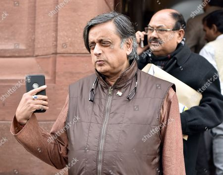 Congress MP Shashi Tharoor arrives at the Parliament House