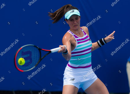 Nicole Gibbs of the United States in action during qualifications at the 2019 Brisbane International WTA Premier tennis tournament