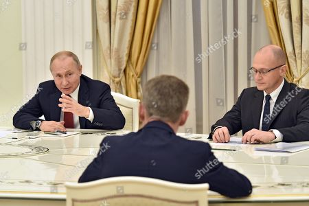 Stock Image of Russian President Vladimir Putin (left) and First Deputy Head of the Presidential Administration Sergei Kiriyenko (right) during the meeting.