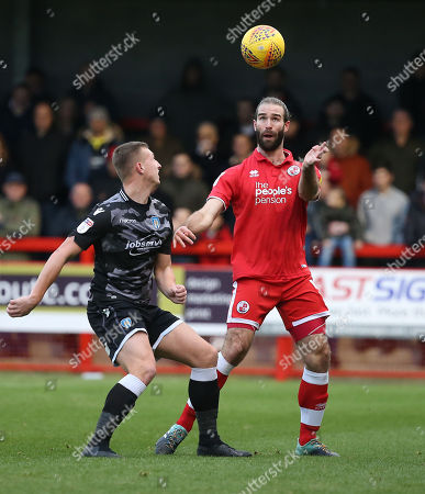 Joe McNerney of Crawley (R) during the EFL League Two match between  Crawley Town and Colchester United at the People's Pension Stadium in Crawley. 01 January 2019