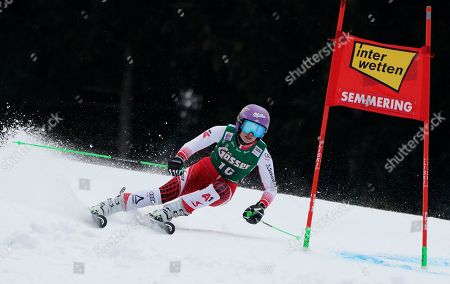 Austria's Anna Veith speeds down the course during the first run of an alpine ski, women's World Cup giant slalom in Semmering, Austria