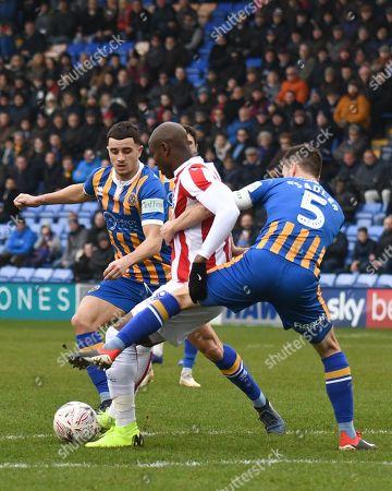 Saido Berahino (19) of Stoke City is held back by Matthew Sadler (5) of Shrewsbury Town