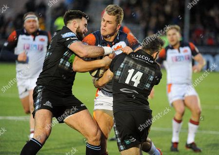 Duhan van der Merwe - Edinbrugh winger attempts to crash his way through the tackles of Alex Dunbar and Tommy Seymour. Glasgow Warriors v Edinburgh Rugby, Guinness Pro14, Scotstound Stadium, Glasgow, Scotland, Sturday 29th December 2018.