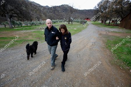 Jerry Brown, Anne Gust Brown. Gov. Jerry Brown and his wife, Anne Gust Brown, take a walk with their dog Cali on their Colusa County ranch near Williams, Calif. The Browns will retire to the ranch when he leaves office Jan. 7, 2019, after a record four terms in office, from 1975-1983 and again since 2011