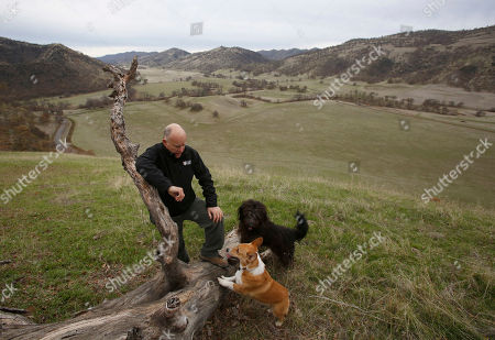 Gov. Jerry Brown pauses while taking a walk with his dogs Colusa, center, and Cali, right, on his Colusa County ranch near Williams, Calif. Brown will retire to the ranch when he leaves office Jan. 7, 2019, after a record four terms in office, from 1975-1983 and again since 2011
